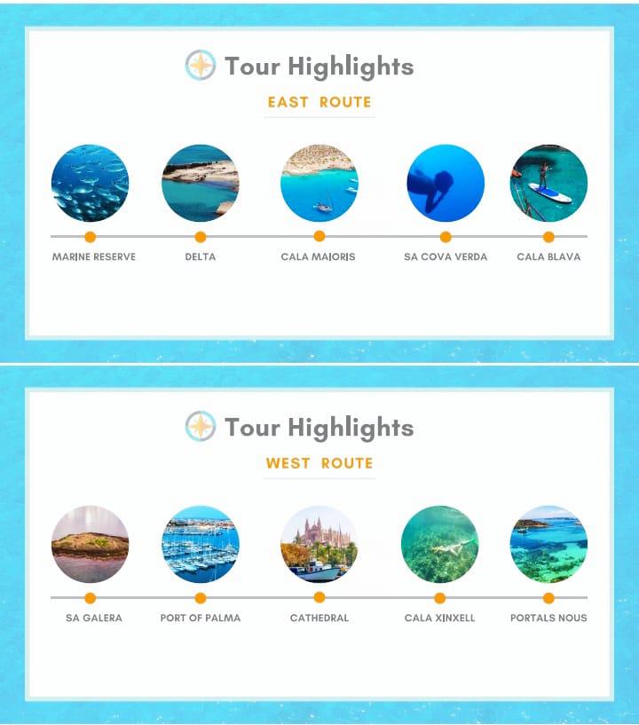 Mallorca segel boatTour-Highlights nach Route
