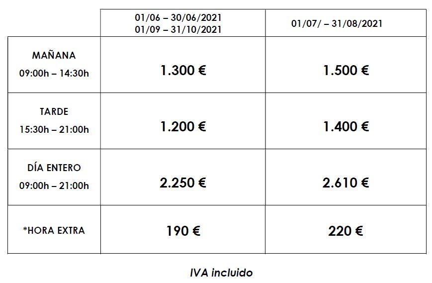 Catamaran de lujo tarifas 2021